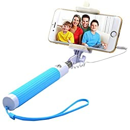 Selfie Stick, SUFUM One-piece 3-In-1Self-portrait Monopod Extendable Selfie Stick for iPhone ISO 5.01 and Smart Phones with Android 4.2.2 system and Above (Blue)
