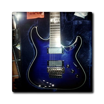 Florene - Music - Print Of Blue Electric Guitar With Chrome Skull - Tiles - 4 Inch Ceramic Tile - Ct_194734_1