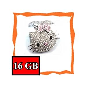 Hello Kitty Cat Silver Crystal Necklace USB Memory Stick Flash Drive 16GB 16G