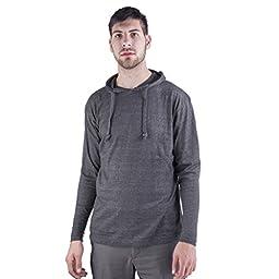 ARCTIC POLE Mens Lightweight Tri Blend Hoodie Tee Shirt NO Pockets X Large, Charcoal