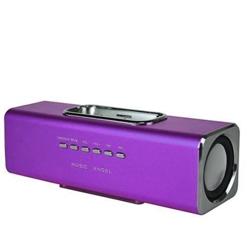 GadgetinBox™ Rechargeable Music Angel Docking Speakers For Apple iPhone's / iPod's (Purple)