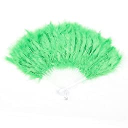 Folding Plastic Frame Feather Dancing Hand Fan w Ring White Green