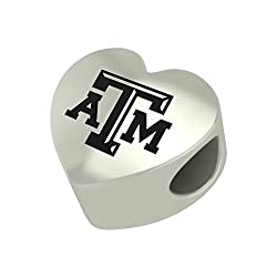 Texas A&m Aggies Heart Bead Fits Most Pandora Style Bracelets