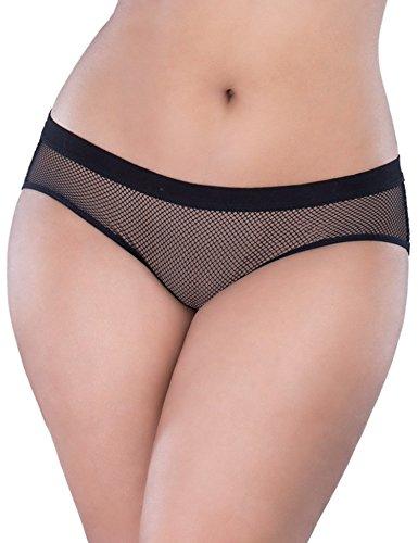 Ohyeah-Slip in rete aperta Butt Plus Size Lingerie Biancheria intima Black M