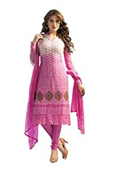 Edeal White And Pink Chiffon Designer Embroidered Straight Suit