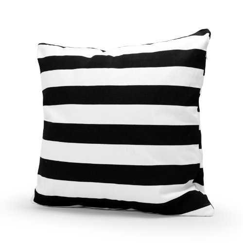 Lavievert Decorative Cotton Canvas Square Throw Pillow Cover Cushion Case Handmade Black and White Stripe Toss Pillowcase with Hidden Zipper Closure 18 X 18 Inches (For Living Room, Sofa, Etc)