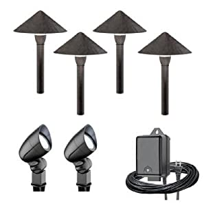 malibu 6 piece led landscape lighting kit bronze black finish. Black Bedroom Furniture Sets. Home Design Ideas