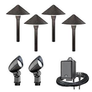 Malibu 6 Piece LED Landscape Lighting Kit Bronze Black Finish LL08344TOBH O