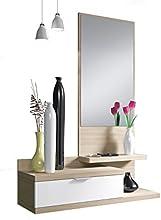 Comprar Habitdesign 016744W - Recibidor de un cajón y espejo, color Blanco Brillo y Nature, dimensiones 116 x 81 x 29cm de fondo