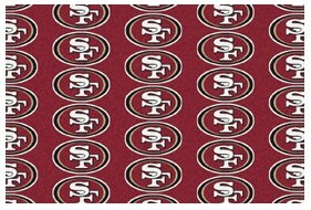 4'x6' SAN FRANCISCO 49ers - Milliken NFL Football Sports Team Repeat Logo 100% Nylon Pile Fiber Broadloom Custom Area Rug Carpet with Premium Bound Edges at Amazon.com