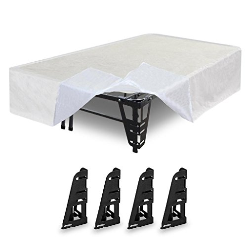 Best Price Mattress Dual-Use Steel Bed Frame/Foundation With Bracket + Bonus Bed Skirt - California King