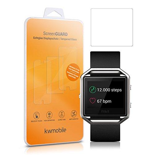 2x kwmobile Echtglas Displayschutzfolie für Fitbit Blaze - Fitness Armband Schutzglas Folie Schutzfolie Displayschutz Glasfolie in kristallklar