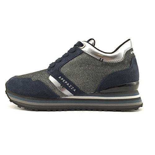Apepazza RSD01 METAL scarpa donna stringata in camoscio/tessuto blu e grigio (38)