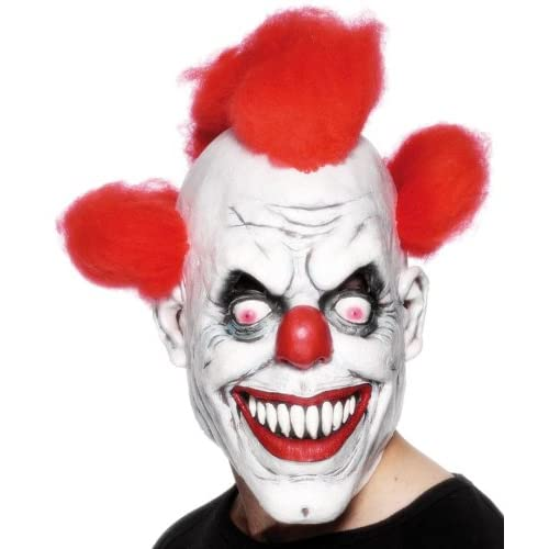 Amazon.com: Scary Red-Eyed Clown 3/4 Mask: Costume Masks: Clothing