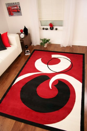 Ultra Modern Red, Cream  &  Black Extra Large Rug 8 Sizes Available 240cm x 330cm (7ft 10