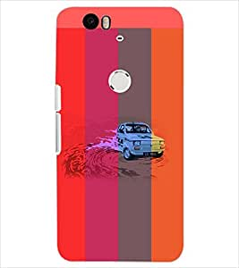 PrintDhaba WATER CAR D-6157 Back Case Cover for HUAWEI NEXUS 6P (Multi-Coloured)
