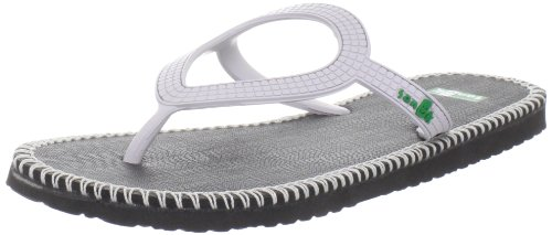 Sanuk Women's Ibiza Stitch Flip Flop,Black/White,8 M US