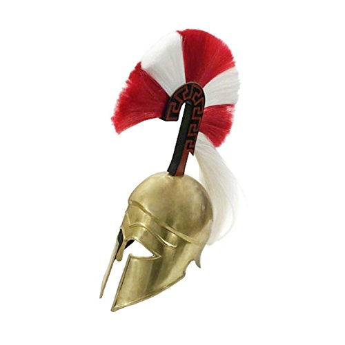 Armor Venue: Greek Hoplite Helmet with Tall Plume Head Armour Gold One Size