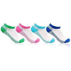 Bonjour Girls Cushioned 4 Pair Cotton Secret length Sports Socks_BRO5101-PO4