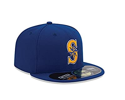 New Era Men's 59fifty Fitted Hat Cap Seattle Mariners 2015 Royal Blue