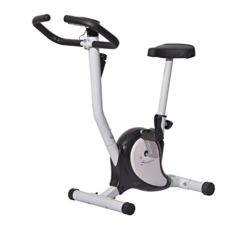 Soozier Indoor Upright Stationary Belt Exercise Bike - Black and White