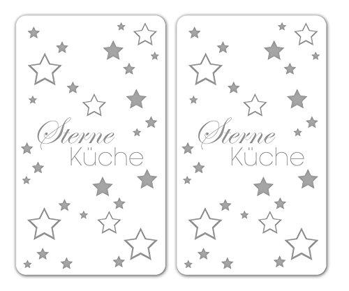 Wenko 2521491500Lot de 2protège-plaques Universel étoiles Cuisine, pour tous les types de feu, verre, blanc