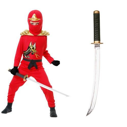 Red Ninja Avengers Series II Child Costume with Sound Effects Ninja Sword, L