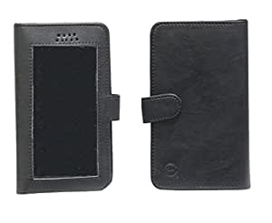 Jo Jo A11 Omni Leather Carry Case Pouch Wallet S View For Micromax Canvas XL A119 Black
