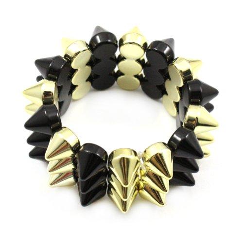 Zehui Black and Gold Cool Rock Punk Studs Hedgehog Spike Rivets Elastic Stretch Bangle Bracelet