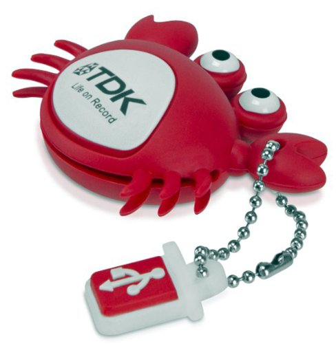 TDK Novelty 8GB USB 2.0 Flash Drive Memory Stick with Keychain Attachment - Crab