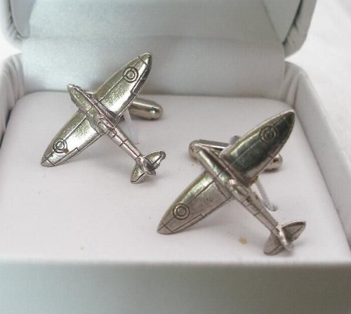Solid Pewter Supermarine Spitfire Cufflinks With Gift Box