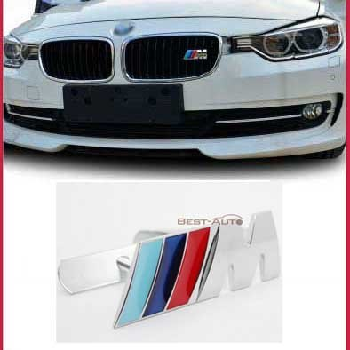 TCYH B037 Car Styling Accessories Chromed Emblem Badge Decal Sticker M Front Grille Blue For BMW X1 X3 X5 X6 M3 M5 E46 E39 E36 E60 E34 E90 E65 E70 E53 E87