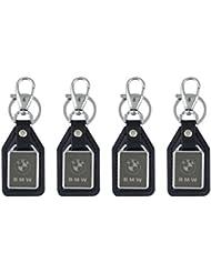 Parrk BMW Mirror Logo Leather Locking Keychain Pack Of 4