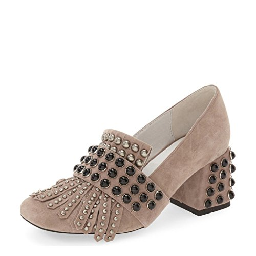 XYD Women Chic Block Low Heels Slip-On Party Round-Toe Fringe Pumps Size 4 Taupe