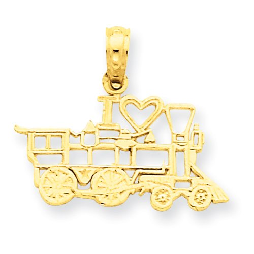 14k I Love Train Pendant
