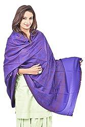Weavers Villa - Womens Woolen Woven Purple Shawls , Stoles