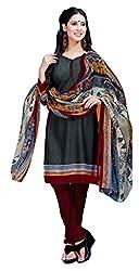 CRAFTLIVA Grey & Maroon Printed Crepe Dress Material