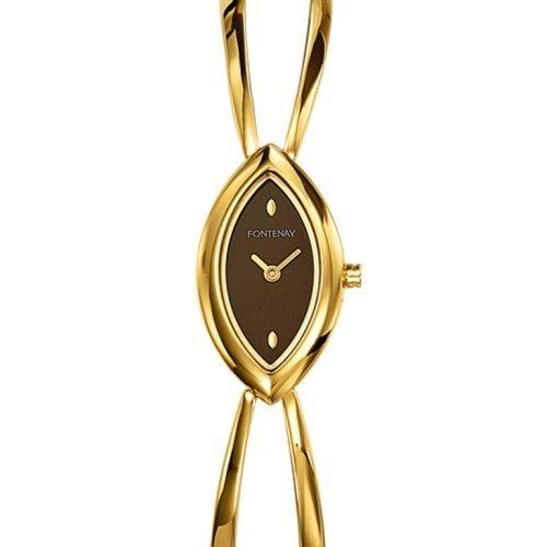 Fontenay UG1224ZQ Women's Analog Quartz Diamond-shaped Watch with Chocolate Brown Back and Semi-rigid Golden Metal Bracelet