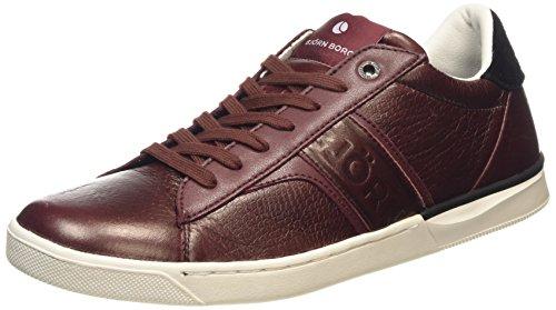 Björn Borg FootwearT100 LOW EMB M - Sneaker uomo , Multicolore (Mehrfarbig (BURGUNDY-BLACK)), 40