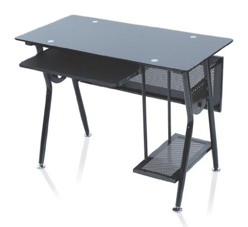 Levv Glass Computer Workstation - Black