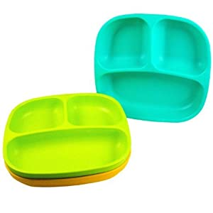 Re-Play 3 Count Divided Plates, Aqua, Green, Orange from MIXSHOP