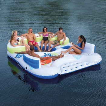 Bestway CoolerZ Inflatable 7 Person Tiki Breeze Floating Island HUGE 13.12 X 10.17 Feet