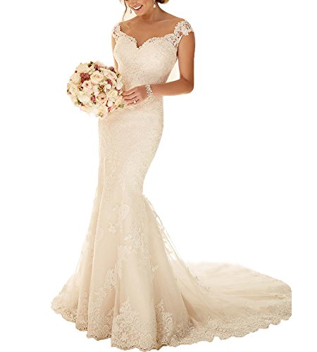 Beauty Bridal Sweetheart Off the Shoulder Mermaid Wedding Dresses 2016(6,Ivory)