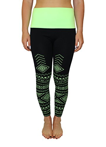 Womens Aztec Printed High Waist Fold Over Neon Yoga Workout Active Athletic Leggings Pants Large Extra Large Lime Green by Crush