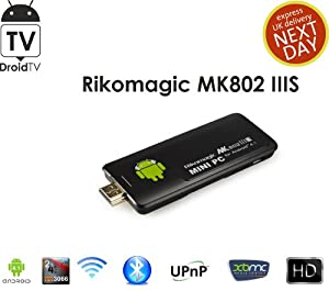 DroidTV MK802 IIIS Bluetooth Mini TV Box Player Dual Core Rockchip 3066 Android 4.1, Quad- Core 2D/3D/ OpenGL ES2.0(AMD Z430)/ OpenVG1.1 GPU, 1GB DDR3, 8GB NAND Flash, Cortex-A9, Support Soft Turn Off **2013 Upgraded Version with CE, ROHS, FCC Certificate,XBMC Supported**