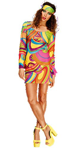 Fever 70's Flower Multi-Coloured Power Costume with Dress and Head Scarf - Size Large