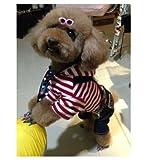 【Dream-studio】つなぎ ロンパース お散歩に部屋着にぴったり!! 犬 猫 裏起毛 服 アメカジ ボーダー フード付きパーカー 重ね着風 ペット コスプレ S M L XL  小型 中型 大型 (青ボーダー, XL)