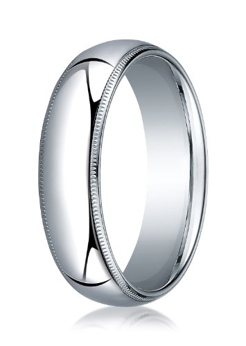 Palladium 6mm Slightly Domed Standard Comfort-Fit Ring with Milgrain (sz 4-15)