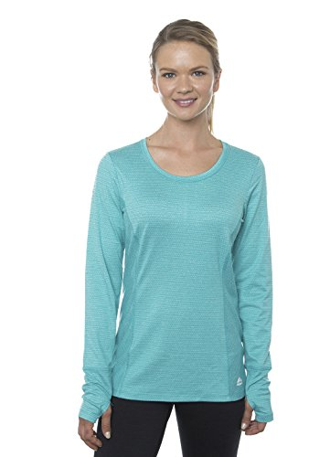 RBX Active Women's Long Sleeve Jaquard Striped Peached Knit Top Green Turquoise L