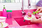 AADYA Flower Power Fence Sink Side Set with Brush, Sponge and Soap Dispenser, 10-1/3-Inches, Pink